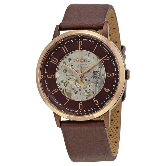 Fossil ME3137 Vintage Muse Rose Burgundy Red Leather Automatic Skeleton
