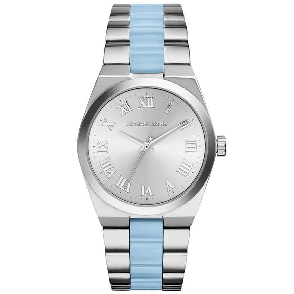 Michael Kors MK6150 Channing Silver Blue Acetate Band Stainless Steel