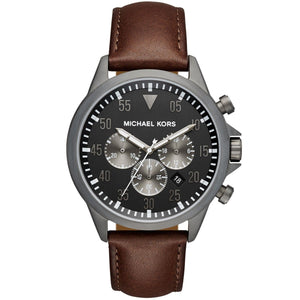 Michael Kors MK8536 Gage Gray Dial Brown Leather Stainless