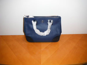 Tory Burch Robinson Double Zip Tote Parisian Blue 404 Purse Saffiano