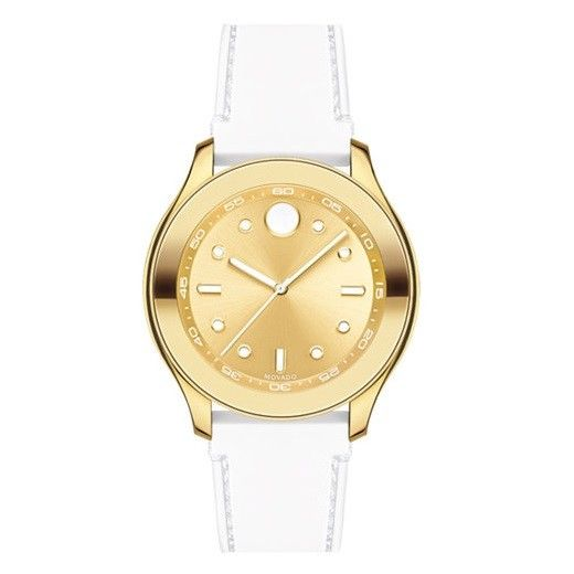 Movado 3600410 Bold Gold Dial White Silicone Band Swiss