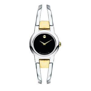 Movado 0606893 Amorosa Bangle Bracelet Black Dial Two Tone Swiss