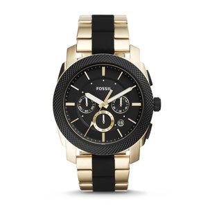 Fossil FS5261 Machine Gold Black Silicone Chronograph Stainless Steel