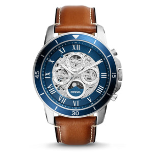 Fossil ME3140 Grant Silver Blue Dial Brown Leather Band Automatic Skeleton
