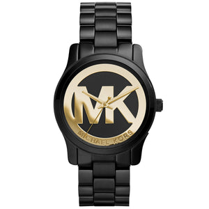 Michael Kors MK6057 Mini Runway Black Gold Logo Watch 34MM BRAND