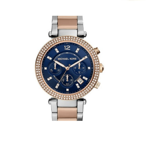 Michael Kors MK6141 Parker Rose Gold Silver Two Tone Blue Dial