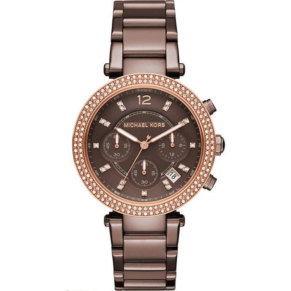 Michael Kors MK6378 Parker Sable Brown Glitz Bezel Stainless