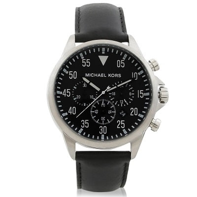 f9276a5de917 Michael Kors MK8442 Gage Silver Dial Black Leather Stainless