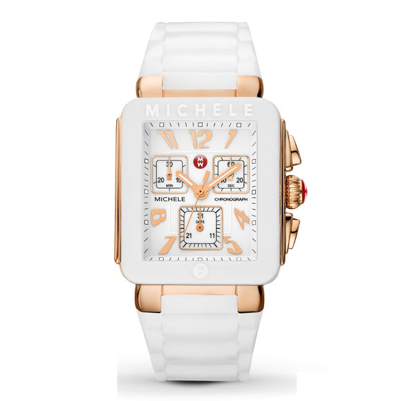 Michele MWW06L000014 Park Jelly Bean Rose Gold White Rubber Band
