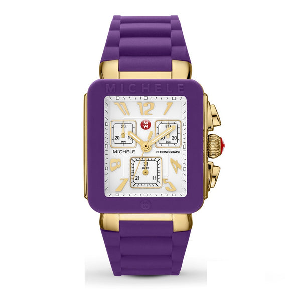 Michele MWW06L000020 Park Jelly Bean Gold Purple Rubber Square Chrono