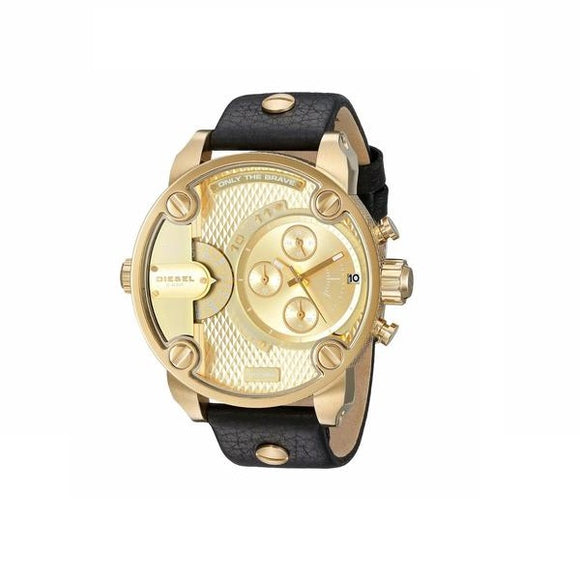 Diesel DZ7363 Little Daddy All Gold Dial Black Leather Band