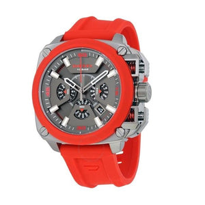 Diesel DZ7368 BAMF Gunmetal Ion Red Silicone Band Chronograph