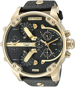 Diesel DZ7371 Mr Big Daddy 2.0 Gold Black Leather 4 Time Chrono