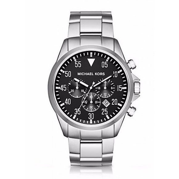 Michael Kors MK8413 Gage Silver Stainless Steel Black Dial Chrono