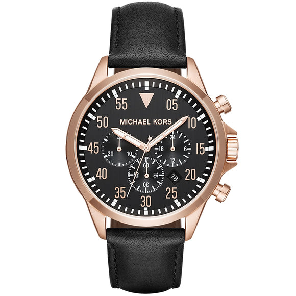 Michael Kors MK8535 Gage Rose Gold Black Dial Brown Leather