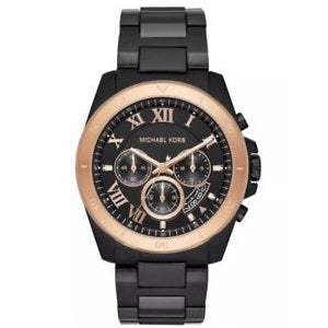 Michael Kors MK8583 Brecken Black IP Rose Gold Chronograph