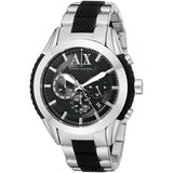 ARMANI EXCHANGE AX1214 Silver Black Dial Silicone Chronograph Date