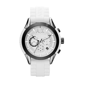 ARMANI EXCHANGE AX1225 White Silicone Logo White Dial Chrono