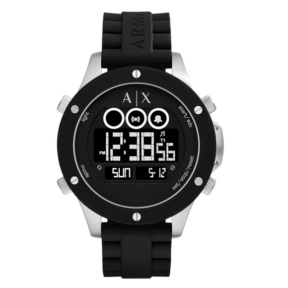 ARMANI EXCHANGE AX1560 Active Black Silicone Digital Multi-Function