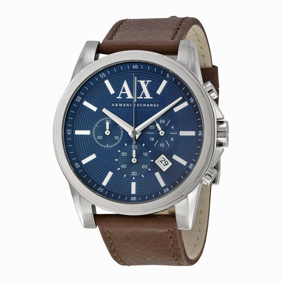 ARMANI EXCHANGE AX2501 Silver Blue Dial Brown Leather Band Chronograph