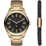 ARMANI EXCHANGE AX7104 Gold Stainless Steel Black Dial and Bracelet Box Set
