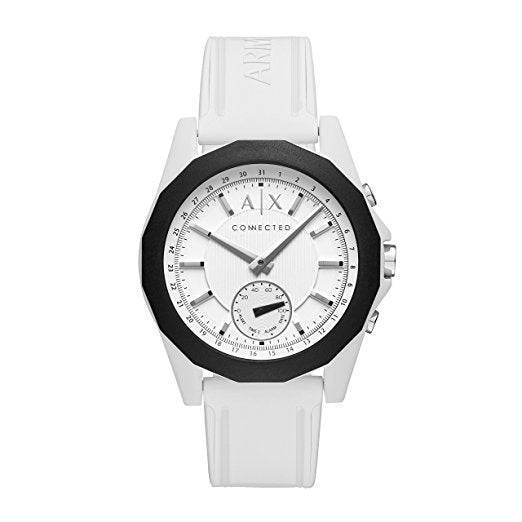 Armani Exchange AXT1000 Hybrid Silver White Silicone Band Conected