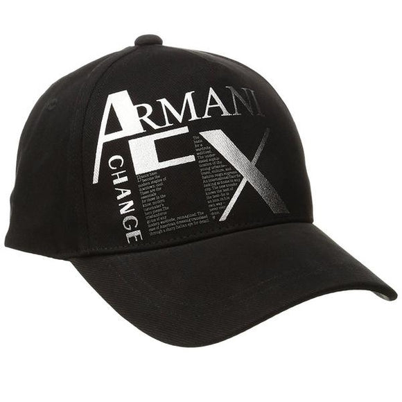 ARMANI EXCHANGE Literature Black A|X Silver Logo Cotton Adjustable Hat