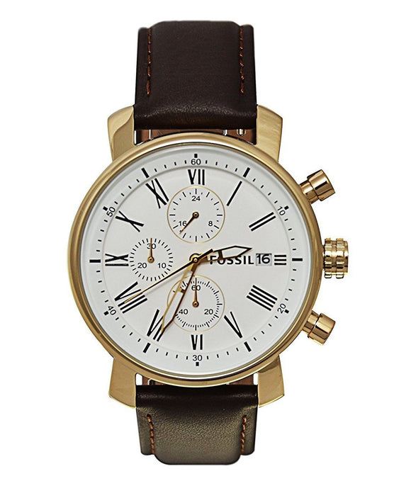 Fossil BQ1009 Rhett Gold Brown Leather Strap Chronograph White Dial