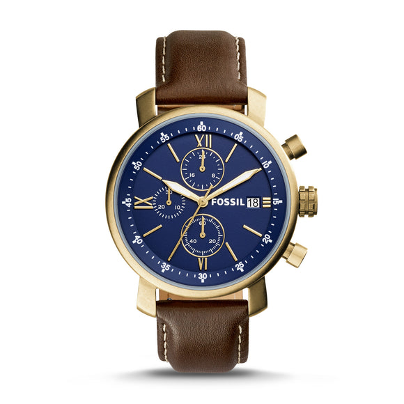 Fossil BQ2099 Rhett Bronze Brown Leather Strap Chronograph Blue Dial