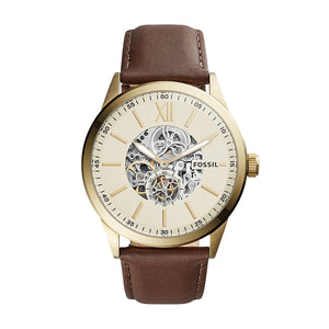 Fossil BQ2215 Flynn Gold Brown Leather Band Automatic Skeleton Steel