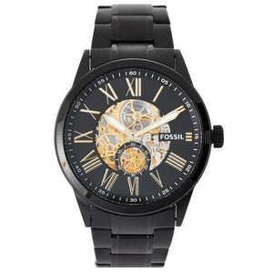 Fossil BQ2243 Flynn Black Gold Accent Automatic Skeleton Steel