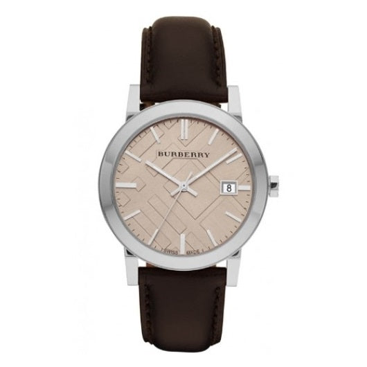 Burberry BU9011 The City Silver Dark Brown Leather Band Watch Mens