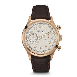 Bulova 97B148 Rose Gold Brown Stainless Steel Embossed Leather Strap