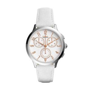FOSSIL CH4000 Abilene Silver White Dial Leather Strap Chrono Quartz