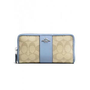 Coach F54630 SVB3K Light Khaki Pool PVC Signature Zip Around Accordion Wallet