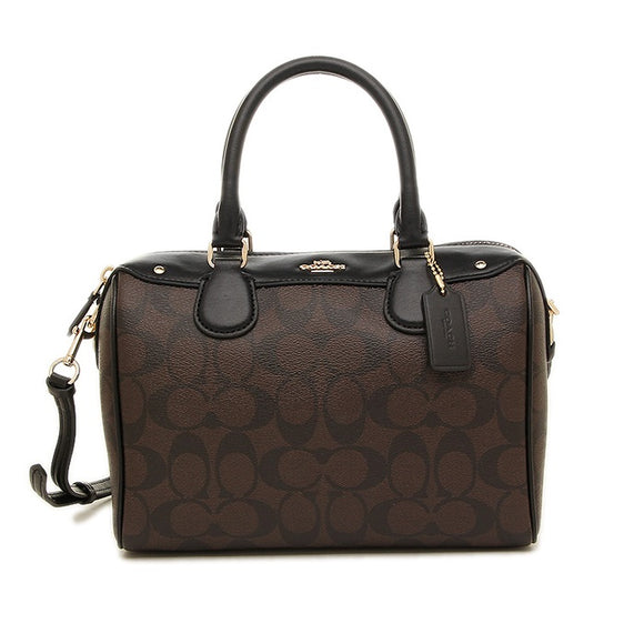 Coach F31383 IMAA8 Large Bennett Satchel Black Brown Signature Leather Bag