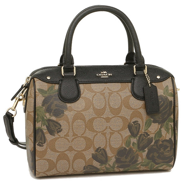 Coach F25870 IMLOV Mini Bennett Camo Logo Rose Print Leather Satchel Bag
