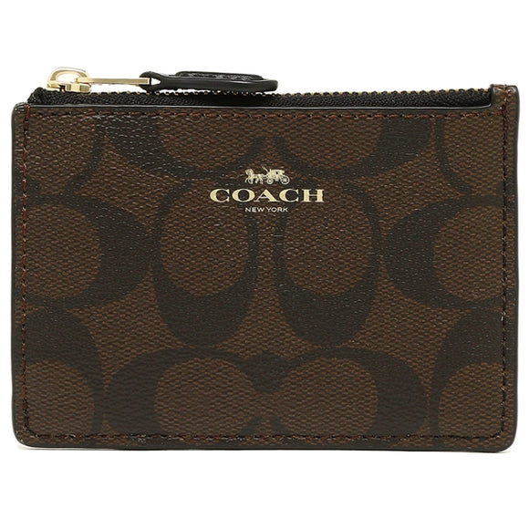 Coach F16107 IMAA8 Brown/Black Signature Skinny PVC Leather Mini ID Coin NEW