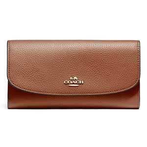 Coach F16613 IMEB0 Pebbled Saddle Brown Checkbook Leather Wallet Tan