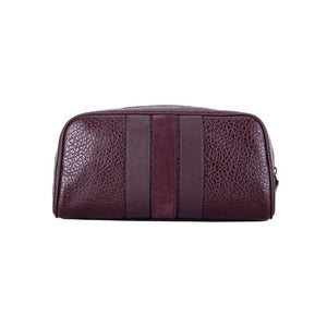 Coach F21387 OXB Travel Kit Varsity Stripe Leather Oxblood Zip Bag