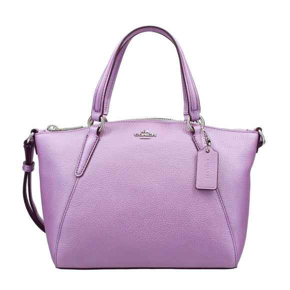 Coach F22316 SVMP3 Mini Kelsey Metallic Lilac Pebble Leather Satchel Handbag NEW