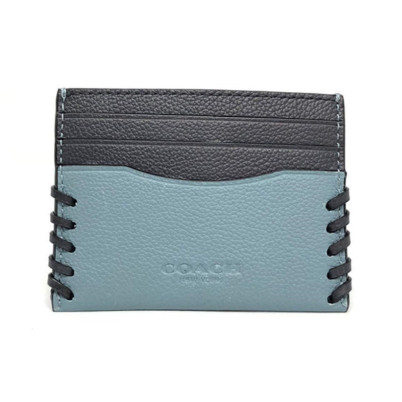 Coach F22370 CYA Cyan Slim Card Case Baseball Stitch Skinny Leather