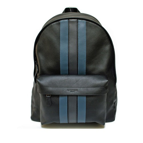 Coach F23214 QBN3E Charles Black Midnight Backpack In Varsity Leather