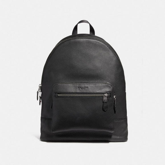 Coach F23247 QB/BK West Black Backpack In Pebbled Leather Traveler School