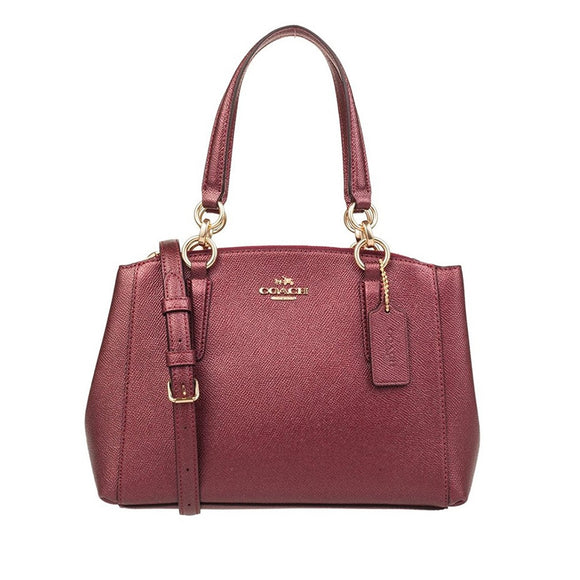 Coach F23337 IME42 Mini Christie Metallic Cherry Carryall Grosgrain HandBag NEW