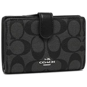 Coach F23553 SVDK6 Black Smoke Signature Leather Corner Zip Medium Wallet