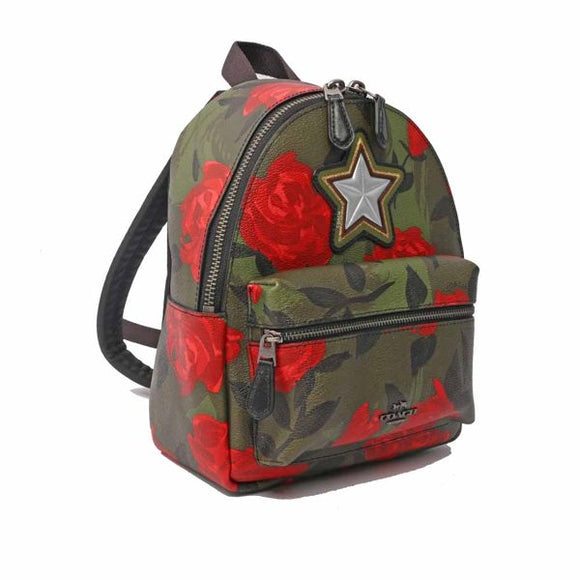 Coach F25869 QBREM Mini Charlie Camo Red Rose Floral Backpack Leather