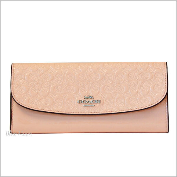 Coach F26814 SV/LP Signature Light Pink Debossed Patent Soft Slim Wallet