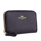 Coach F27569 IMMID Crossgrain Midnight Leather Zip Around Coin Case Wallet