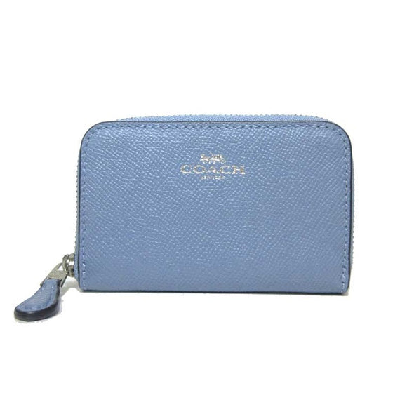 Coach F27569 SV/PQ Crossgrain Pool Leather Zip Around Coin Case Wallet